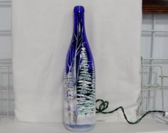 Wine Bottle Light Large Winter Scene Fur and birch Trees