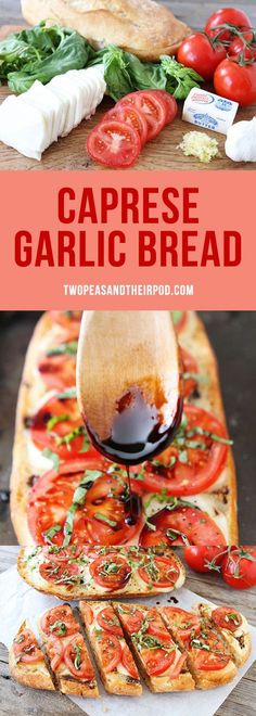 Caprese Garlic Bread is the BEST garlic bread recipe Garlic bread with fresh mozzarella cheese, tomatoes, basil, and balsamic glaze! You will never make regular garlic bread again! is part of Garlic bread recipe - Vegetarian Recipes, Cooking Recipes, Healthy Recipes, Bread Recipes, Chicken Recipes, Cod Recipes, Carrot Recipes, Sandwich Recipes, Turkey Recipes