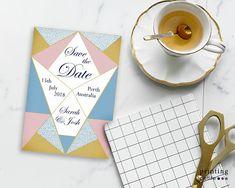 Printable Wedding Save the Date Geometric Cone Themed Wedding Of The Year, Wedding Save The Dates, Spring Wedding, Ice Cream Wedding, Simple Geometric Designs, Wedding Groom, Wedding Locations, Perfect Wedding, Stationery