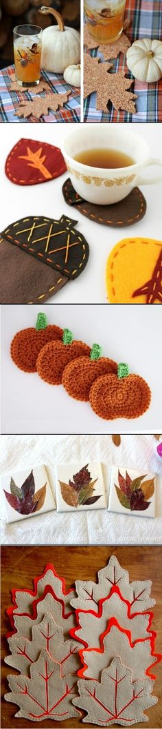 DIY Fall Coasters Of Different Materials Autumn Crafts, Holiday Crafts, Harvest Crafts, Diy Autumn, Diy Home Crafts, Sewing Crafts, Fall Projects, Diy Projects, Diy Coasters