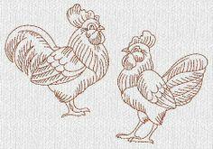Hen ~Chicken~  Rooster Redwork Machine Embroidery Designs