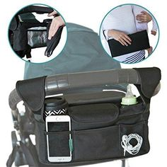 Stroller Organizer With Portable Changing Pad and BONUS Stroller Hooks. Handlebar Console Fits Britax Baby Jogger BOB Uppa Baby Umbrella and Most Other Single Strollers.