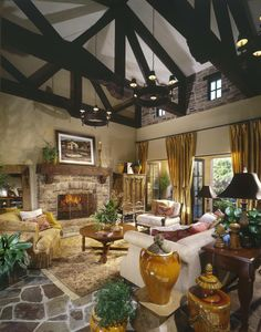 Eldorado Stone + dark wood beams + romantic decor= the perfect place to unwind.  And what about the stones on the floor?  Do you like the look?