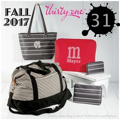 Thirty-One has some great new prints and products for Fall 2017... Like the Very Cherry Pebble Savvy Sleeve and the City Chic Tote, the Mini Rubie and Stackin' Jacksons in the new Dainty Dots print. And how about the returning RETRO METRO Weekend in Twill Stripe? Gotta love the new products from Thirty-One Gifts this season. Check out everything online at MyThirtyOne.com/PiaDavis or look in the upper right corner to select your consultant.