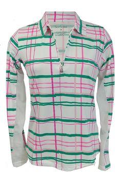 SanSoleil UPF 50 SolTek Zip Mock in pink raspberry and green plaid.