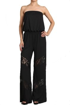 Cosmo Strapless Lace Detail Jumpsuit - Black RESTOCKED!