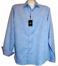 Bugatchi Uomo Men's Blue White Floral Cotton Blouse Shirt Sz M Classic Fit NEW