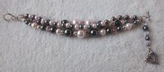 Silver pink and gray triple strand bracelet by MysticalGypsies, $12.00