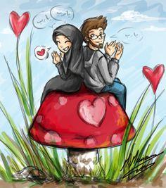 kumpulan kartun romantis parf 2 - my ely Family Illustration, Illustration Art, Illustrations, Islam Marriage, Cute Muslim Couples, Muslim Girls, Islamic Cartoon, Cute Couple Cartoon, Anime Muslim