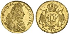 Sweden AV 1/2 Dukat 1701 Stockholm Mint Charles XII 1697-1718