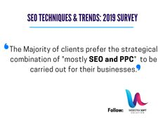 """Among 100+ SEO companies/specialists globally participated in Survey and we come to know that:  The Majority of clients prefer the strategical combination of """"mostly SEO and PPC"""" to be carried out for their businesses    Source: Googlefirms    #marketingtips #googleupdates #seo #tipsofseo #webistrasoft #1marketingagency Seo Techniques, Seo Company, Digital Marketing Services, Vocabulary, Usa, Business, Store, Business Illustration, Vocabulary Words"""