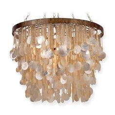 Large Shell Drop Chandelier with Beaded Detail 5 Lights Available in Silver and Gold Finishes Also Available As