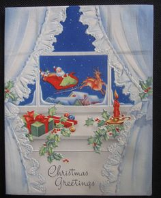 Vintage Christmas Greeting Card Santa's Sleigh Seen Threw the Window