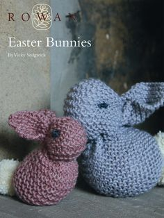 Easter Bunnies - Knit these cute Easter bunnies, a free pattern download as part of the Easter Collection 2014. Designed by Vicky Sedgwick, worked in garter stitch and made from only one knitted square, this knitting pattern is for the beginner knitter