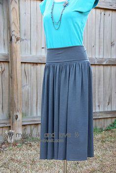 knit skirt, yoga-style waistband