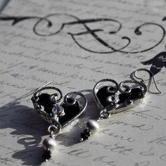 Silver and black heart earrings  #heartearrings, #handmadejewelry, #handmadeearrings, #ecofriendlyjewelry, #blackheart