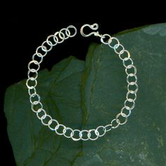 Small Circle Chain Bracelet Chain Link Sterling Silver Hammered Wire Metalwork Wirework Metal Circles