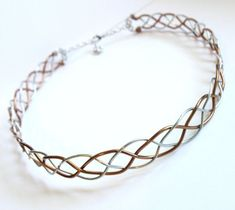diy wire crowns gem headpiece | Celtic Braid Circlet - Two Tone Silver and Bronze Aluminum Wire Headp ...
