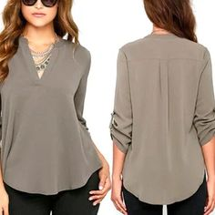 Stretchy Women V Neck Solid Chiffon Blouse Long Sleeve Office Lady Blouses Shirt Create Your Own Style Simple and Classical, Gray Blouses For Women, T Shirts For Women, Office Ladies, Fashion Sewing, Shirt Blouses, Blouse Designs, Ideias Fashion, Casual Outfits, Tunic Tops