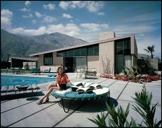 Corrine Krisel in the backyard of the Twin Palms home designed by her husband, famed modernist architect, William Krise, 1957