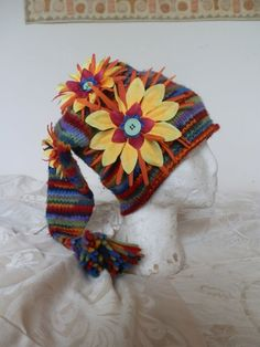 Funky Flower Power Rainbow Hippie Sock Hat by FeedTheDogCreations