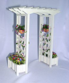 arbor with plant boxes