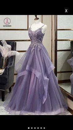 A-Line Tulle Lace Long Prom Dresses Formal Evening Gowns 601971 Straps Prom Dresses, Cute Prom Dresses, Ball Dresses, Homecoming Dresses, Pretty Dresses, Beautiful Dresses, Purple Prom Dresses, Bridesmaid Dresses, Amazing Prom Dresses
