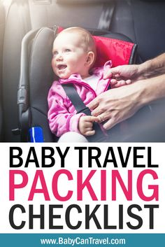 Need a packing list for travel with a baby? In our Baby Travel Checklist and Packing List, you'll be assured that you haven't forgotten a thing! We cover it all from sleeping and feeding to what goes in the carry-on! Click to get your downloadable baby travel packing list. #travelwithbaby #packinglist Travel Packing Checklist, Printable Packing List, Travel Essentials, Traveling With Baby, Traveling By Yourself, Airplane Activities, Flying With A Baby, Baby Travel, Airplane Travel