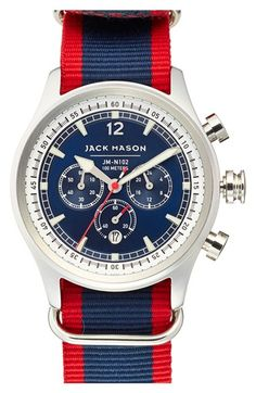Jack Mason Brand Nautical Chronograph NATO Strap Watch, 42mm