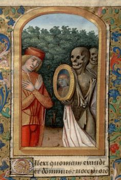 Young man and death from Book of Hours/Life of St Margaret (Paris, Bibl… Medieval Tapestry, Medieval Books, Medieval Manuscript, Medieval Art, Illuminated Manuscript, Dance Of Death, Medieval Paintings, Old Paintings, La Danse Macabre