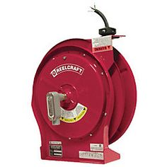 Cord Reel, 16A, 600V, 50Ft, Red, Wire Leads