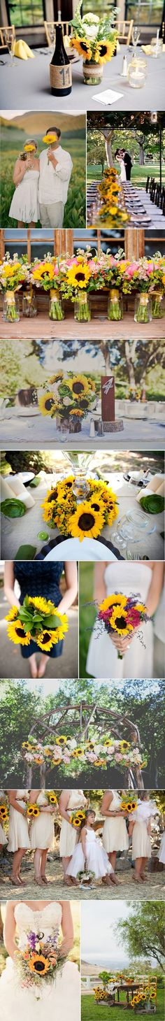 Summer Wedding Ideas I love sunflowers for their bold, bright shape and colour. Here we show some sunflower wedding inspiration ideas - I love sunflowers for their bold, bright shape and colour. Here we show some sunflower wedding inspiration ideas Trendy Wedding, Perfect Wedding, Fall Wedding, Rustic Wedding, Our Wedding, Dream Wedding, Yellow Wedding, Wedding Table, Wedding App
