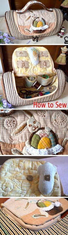 How to make tutorial sewing kit case bag http://www.handmadiya.com/2016/02/sewing-kit-tutorial.html