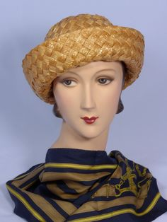 1970s Mr John Classic Woven Straw Breton Style Hat Available at My Vintage Clothes Line on Ruby Lane