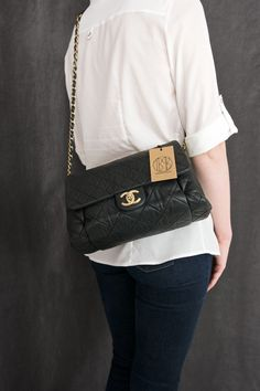 8c403b65bda10d Chanel Black Quilted Iridescent Calfskin Leather Chic Large Flap Bag  Vintage Chanel Bag, Luxury Bags