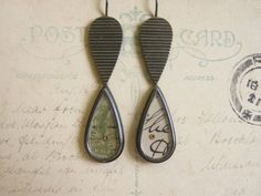 Double raindrop earrings | oxidised silver, old postcard + green stamp, gold, perspex | by Clare Hillerby
