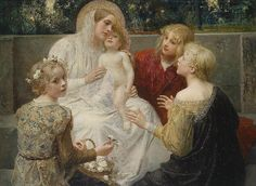 """Eduard Veith (Austrian, 1856 – 1925), """"Madonna With Jesus Surrounded By Children"""" 