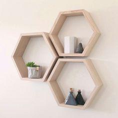 Hexagon Oak Shelving