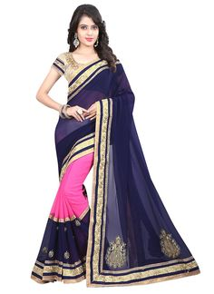 Buy latest designer saree collection online. Customization and free shipping worldwide. Grab this georgette hot pink and navy blue designer saree.
