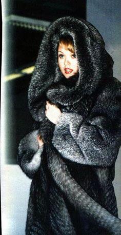 hooded silver fox fur coat