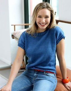 Easy and fast knit: Short-sleeved blouse - Knitting 2019 - 2020 Knitting Socks, Free Knitting, Baby Knitting, Easy Knitting Patterns, Summer Knitting, Knitting For Beginners, Pullover, Knit Crochet, T Shirts For Women
