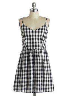 Singing in Gingham Dress - Short, Black, White, Checkered / Gingham, Casual, A-line, Spaghetti Straps, Summer