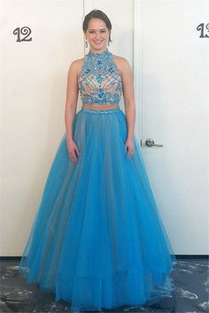 Elegant Prom Dresses, 2018 New Style Prom Dress Glamorous High Neck Beadings Tulle Evening Dress 2018 Two Piece Prom Dress Shop for La Femme prom dresses. Elegant long designer gowns, sexy cocktail dresses, short semi-formal dresses, and party dresses. Pageant Dresses For Teens, Best Prom Dresses, Backless Prom Dresses, Prom Dresses Blue, Sexy Dresses, Awesome Dresses, Formal Dresses, Homecoming Dresses, Beautiful Dresses