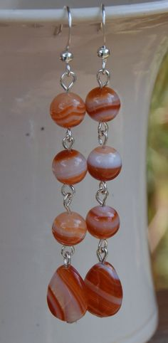 Peach and White Striped Carnelian Gemstone Beaded Dangle Earrings.  15mmx10mm Carnelian Teardrop Gemstones, 8mm Carnelian Round Gemstones.