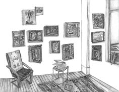 Artist: Maria L. Calandra. Title: Holly Coulis' Studio. Media:  Pencil on paper. Date: 2015.  Source: White columns registry Research by: Nonna