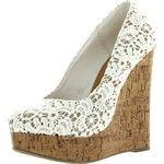Dress Almond Toe Crochet Platform High Wedge Heel Summer Sandals Off White 5.5