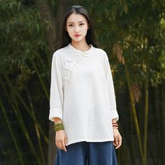 9a1d817f5c Linen and Cotton Retro Chinese Style Blouses – Pure Color Retro Chinese  Style Women Long Sleeve Blouses