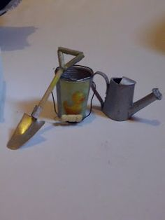 secchiello, paletta, innaffiatoio, miniature 1:12 dollhouse beach toys