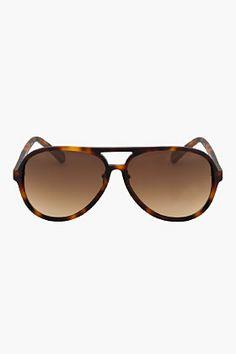 KRISVANASSCHE Brown Rubberized Tortoiseshell Aviator Sunglasses