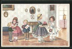 carte postale ancienne: CPA Illustrateur Pauli Ebner: des enfants gratulieren avec Geschenken zum Neujahr
